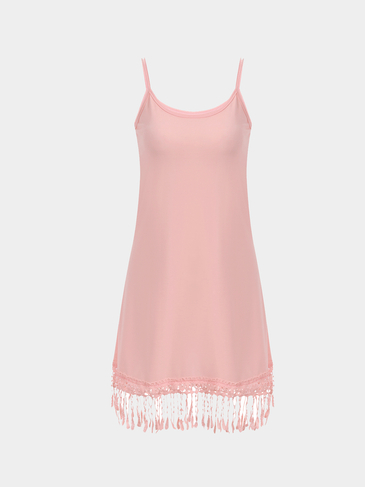 Pink Cami Dress with Crochet Lace Details
