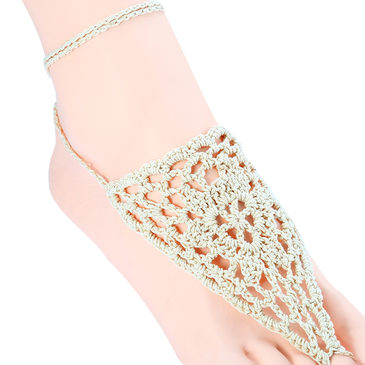 Beige Tribal Crochet Foot Chains