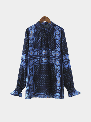 Border Print Collar Tunic in Blue