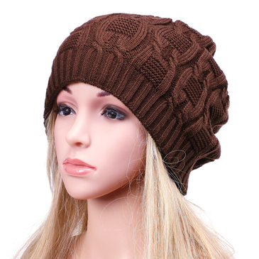 Coffee Light Grey Fashion Hemp Knitted Turn Up Rib Beanie