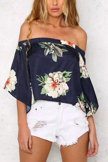 Blue Random Floral Print Off Shoulder Back Splited Blouse