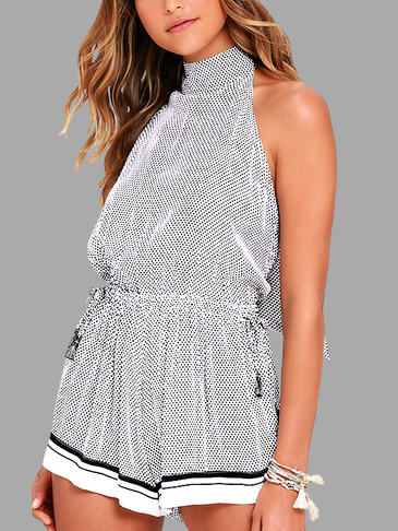 Grid Pattern Sleeveless Halter Playsuit with Self-tie Details