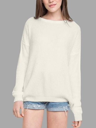 White Round Neck Long Sleeves Jumper