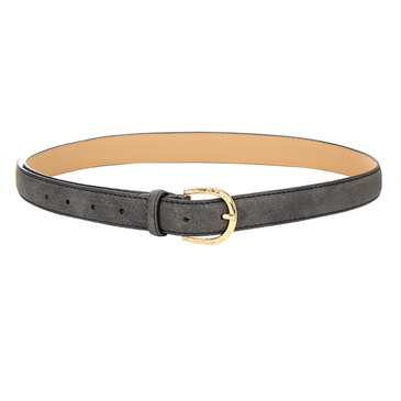 Leather-look Skinny Waist Belt with Engraved Buckle in Black