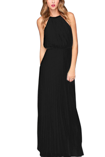 Sleeveless Back Cut Out Halter Maxi Dress in Black