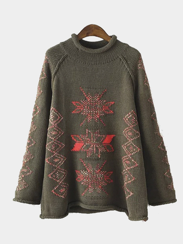 Snow Geo Pattern Ribbed Sweater