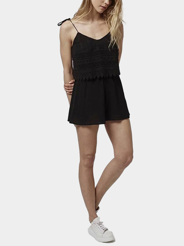 Black V Neckline Lace Cami Playsuit