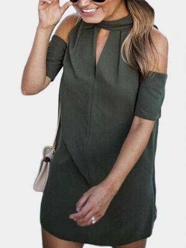 Armygreen Halter Cold Shoulder Mini Dress