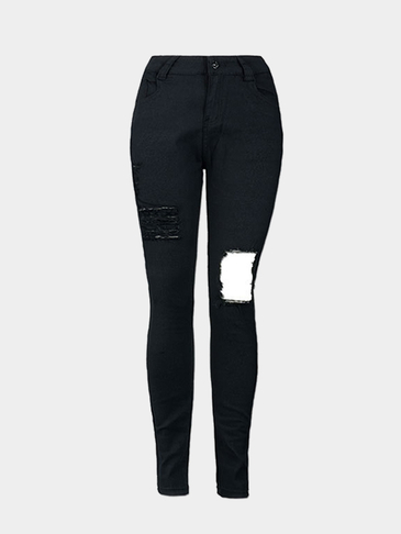 Black Big Ripped Shredded High Waist Skinny Jeans