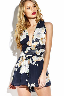 Navy Chiffon Criss Crossed Back In Floral Print Playsuit