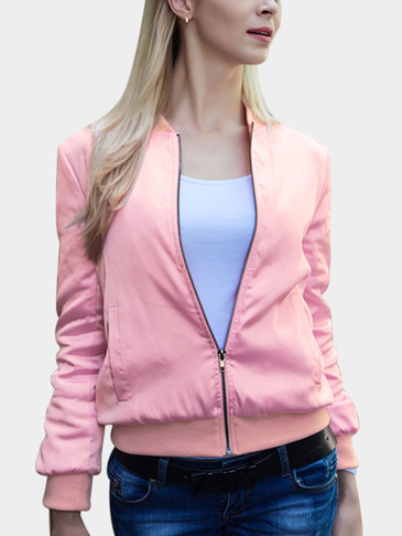 Pink Letter Pattern Bomber Jacket With Side Pockets