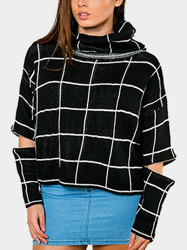 Black Chcked High Neck Jumper with Zipper Sleeves