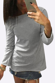 Grey Casual V Neck Back Design Long Sleeves T-shirt