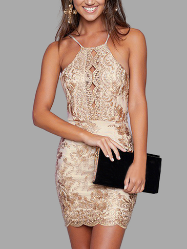 Halter Gold Thread Bordado Hollow Out Vestido Backless
