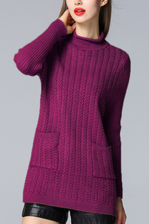 Longline Cable Knit High Neck Sweater Dress in Purple