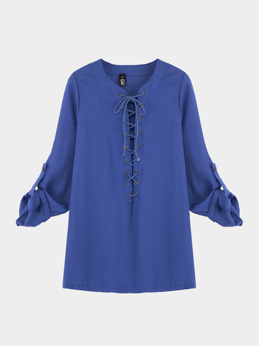 Blue Lace-up Blouse