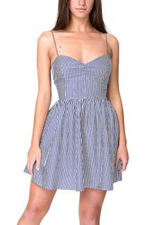 Pinstripe Open Back Cami Dress