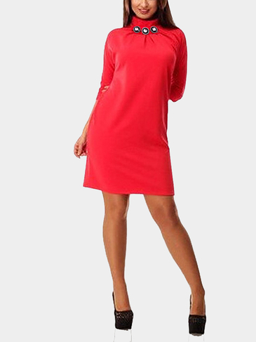 Plus Size Red Chimney Collar A-line Dress
