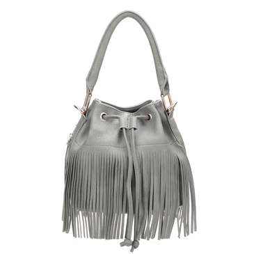 Grey Drawstring Leather Look Bucket Bag With Tassels
