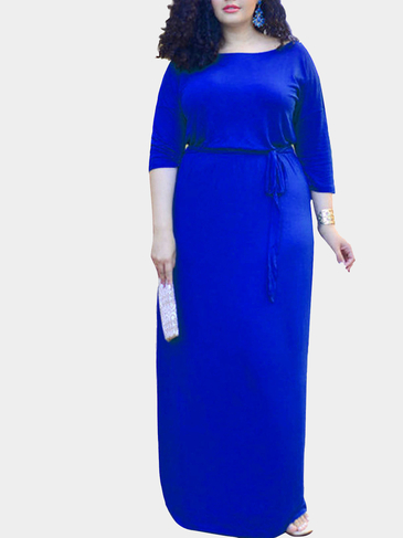Plus Size 1/2 Length Sleeves Drawstring Waist Maxi Dress in Navy