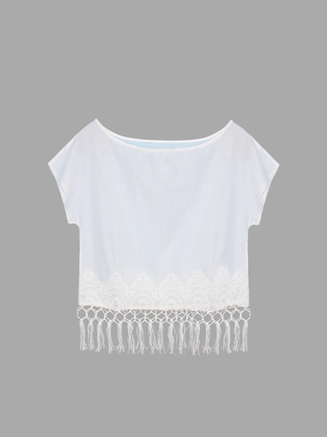 Fringed Crochet Lace Cropped Top
