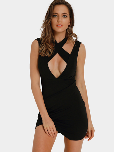 Sleeveless Wrap Front Cut Out Open Back Halter Mini Dress