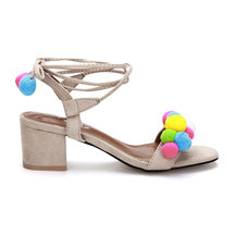Apricot Suede Look Strap Across With Pompoms Lace-up Heeled Sandals