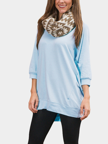 Blue Plain Long Sleeves T-shirts