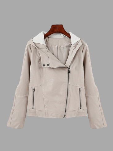 Beige Fashion Long Sleeves Hooded Jacket