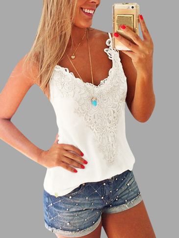White Lace Insert V-neck Camis