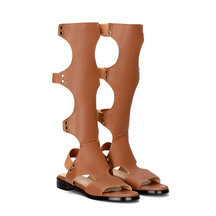 Brown Leather Look Gladiator Flat Sandals with Velcro Detail