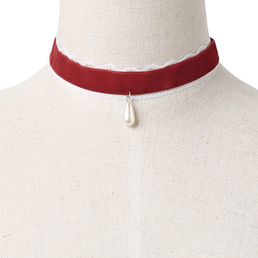 Red Velvet Ribbon Lace Details Pearl Pendant Necklace