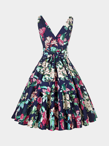 Random Floral Print Sleeveless V-neck Midi Dress