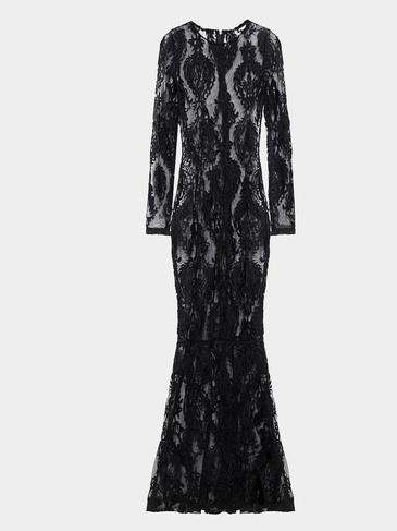 Long Sleeves Lace Maxi Dress in Black