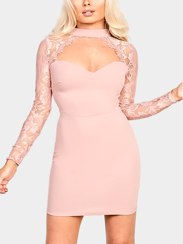 Pink Sexy Cut Out Detail Mini Dress With Lace Long Sleeves