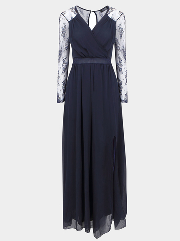 Maxi Chiffon Dress with Mesh Sleeve