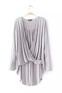 Wrap Front High Low Hem Top in Grey