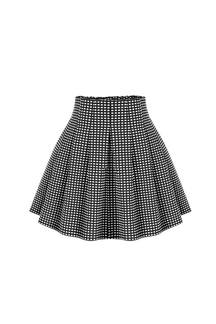 Plus Size Pleated Full A-line Mini Skrit with Grid Pattern