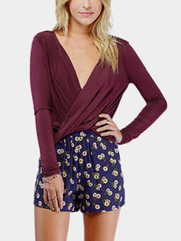 Burgundy Wrapped Twisted Plunge V-neck Top