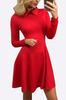 Perkins Collar Pleated Hem Casual Dress in Red