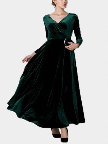 Dark Green Wrap Front Velvet Maxi Dress