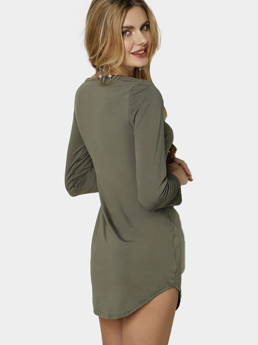 Army Green Fleece Gefüttert Pullover Curved Saum Bodycon Fit Kleid