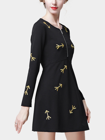 Black Arrow Embroidery A-Line Mini Dress