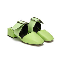 Green Casual Leather Look Square Heel Mules and Fluorescent Green Buckle
