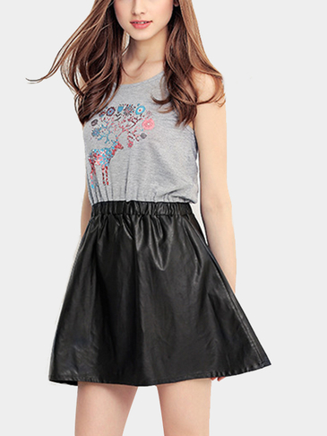 Sleeveless A-line Elastic Waist Mini Dress