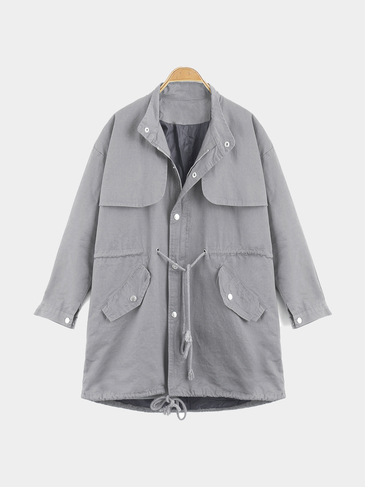 Gray Loose Fit Trench Coat With Drawstring Waist