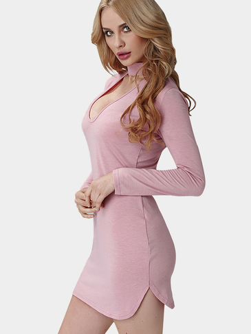 Pink Deep V Front Design Curved Hem Thin Mini Dress