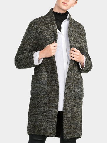 Longline Cardigan in Grey Marl