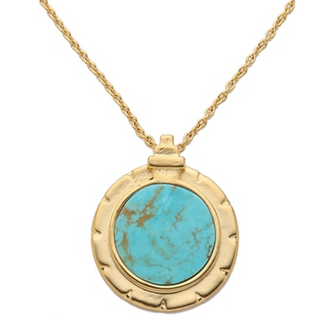 Turquoise Charm Gold Necklace