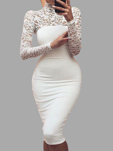 Long Sleeves Lace Bodycon Midi Dress in White